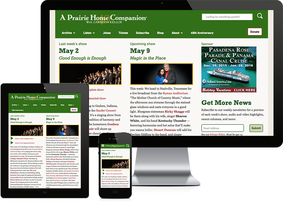 A Prairie Home Companion website